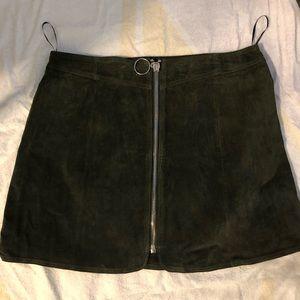 Zara dark green suede mini skirt Size L